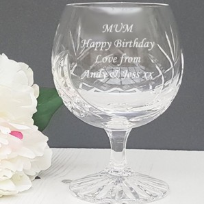 Engraved Crystal Brandy Glass - Image 1