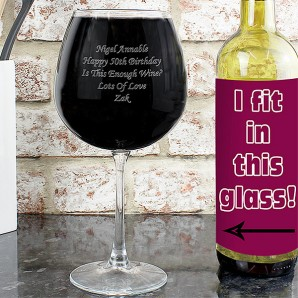 Engraved Giant Wine Glass - Image 1