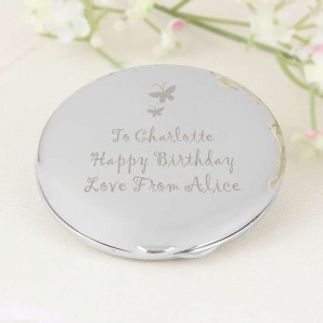 Silver Plated Butterfly Round Compact Mirror - Image 1