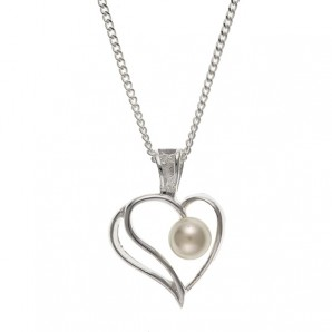 Silver Heart Pearl Necklace In Personalised Case - Image 1