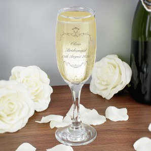 Personalised Ornate Swirl Champagne Glass - Image 1