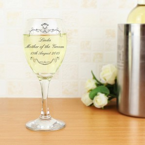 Engraved Ornate Swirl Wine Glass - Image 1
