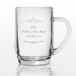 Engraved Ornate Swirl Glass Tankard - Image 1