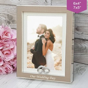 Personalised Silver Crystal Wedding Ring Photo Frame - Image 1