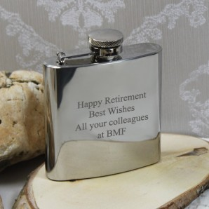 Engraved 6oz Stainless Steel Hip Flask - Image 1