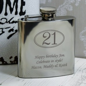 Engraved 21st Birthday Hip Flask - Image 1