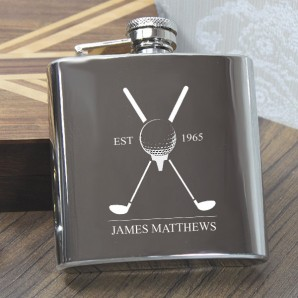 Engraved 6oz Golf Hip Flask - Image 1