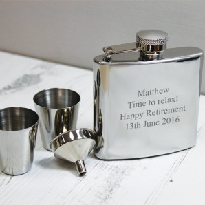 Engraved Hip Flask and Cup Gift Set - Image 1