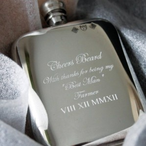 Engraved Cushioned 6oz Pewter Hip Flask - Image 1