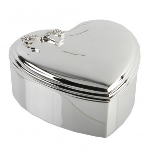 Engraved Silver Heart Bow Jewellery Box - Image 1