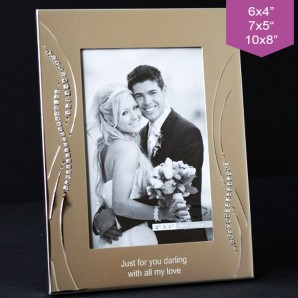 Personalised Silver Crystal Wave Photo Frame - Image 1