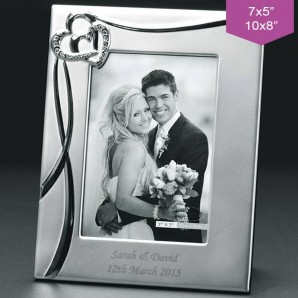 Personalised Silver Crystal Hearts And Ribbon Photo Frame - Image 1