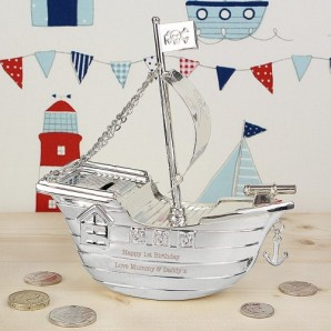 Engraved Silver Pirate Ship Money Box - Image 1