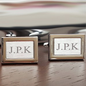 Personalised Brushed Silver Framed Cufflinks - Image 1