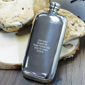Engraved Slimline 3oz Pewter Hip Flask - Image 1