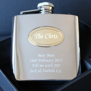 Personalised Gold Name Badge Hip Flask - Image 1