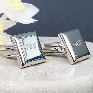 Engraved Silver Bevelled Square Cufflinks - Image 1
