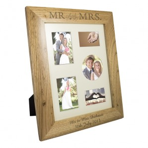 Personalised Mr & Mrs Collage Oak Picture Frame - Image 1