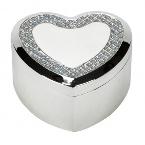 Engraved Silver Heart Trinket Box With Crystal Inlay - Image 1