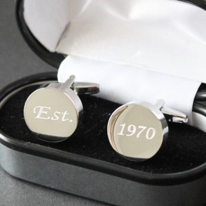 Personalised Silver Plated Round Chunky Cufflinks - Image 1