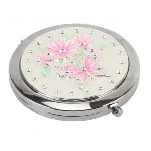 Engraved Pink Butterfly & Flowers Compact Mirror - Image 1
