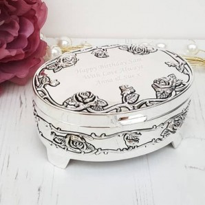Engraved Silver Rose Trinket Box With Feet - Image 1