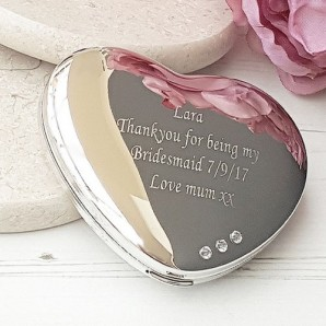 Engraved Silver Plated Crystal Compact Mirror - Image 1