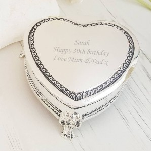 Engraved Silver Heart Trinket Box with Feet - Image 1
