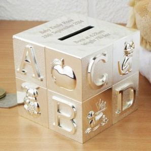 Engraved Silver ABC Cube Money Box - Image 1