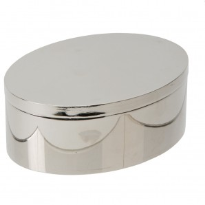 Engraved Silver Oval Shaped Trinket Box - Image 1
