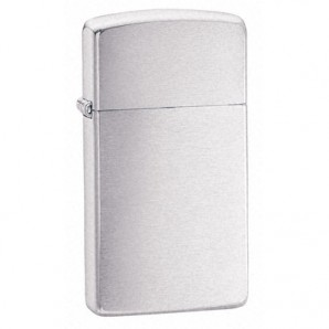 Engraved Slim Brushed Chrome Zippo Lighter - Image 1