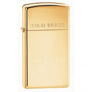Engraved Slim Polished Brass Zippo lighter - Image 1