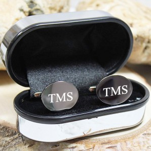 Engraved Silver Oval Cufflink - Image 1