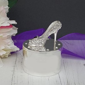 Engraved Crystal Peeptoe Shoes Trinket Box - Image 1