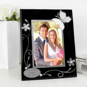 Personalised Black Glass With Silver Butterflies Photo Frame - Image 1