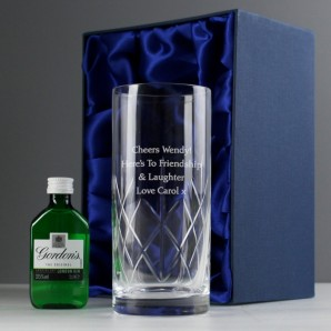 Engraved Crystal and Gin Gift Set - Image 1