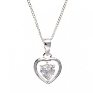 Silver Crystal Heart Necklace In Personalised Gift Box - Image 1