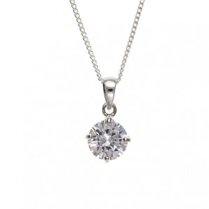 Silver Crystal Solitaire Necklace In Engraved Gift Box - Image 1