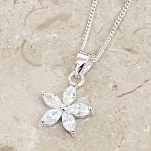 Personalised Sterling Silver Crystal Flower Necklace - Image 1