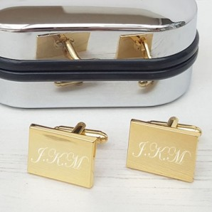 Personalised Gold Plated Rectangle Cufflinks - Image 1