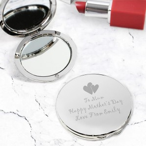 Engraved Silver Slimline Compact Mirror - Heart Motif - Image 1