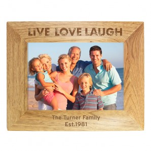 Personalised Oak Picture Frame - Live Laugh Love - Image 1
