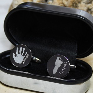 Personalised Imprint Silver Round Cufflinks - Image 1