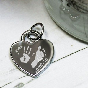 Personalised Imprint Silver Heart Charm - Image 1