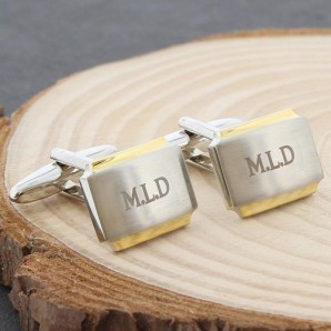 Engraved Silver And Gold Cufflinks - Image 1