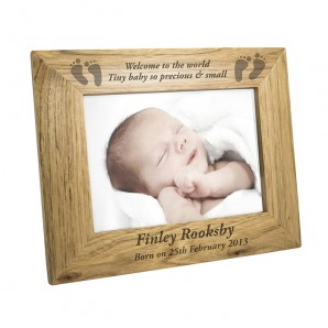 Personalised Landscape Wooden 'Baby Feet' Photo Frame - Image 1