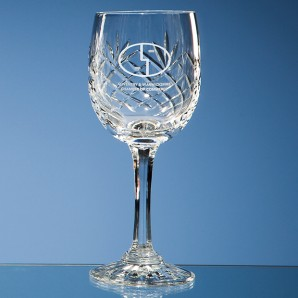 Engraved Lead Crystal Wine Glass - Image 1