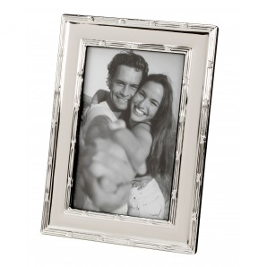 Engraved Silver Ribbon Edge Photo Frame - Image 1