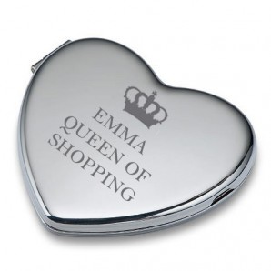 Personalised Heart Compact Mirror - Queen Of... - Image 1