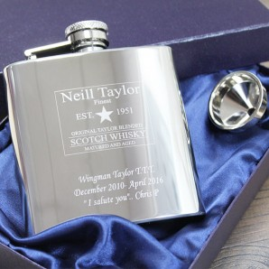 Engraved Whisky Label Hip Flask - Image 1